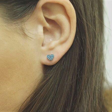 Ροζ Χρυσά Σκουλαρίκια Καρδιά 9Κ Γαλάζιες Πέτρες Ζιργκόν