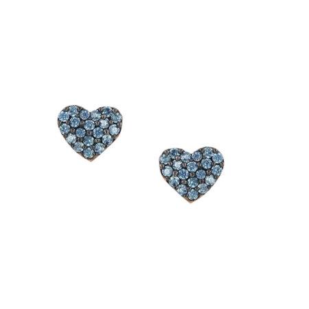 Ροζ Χρυσά Σκουλαρίκια Καρδιά 9Κ Με Γαλάζιες Ζιργκόν Πέτρες