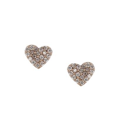 Ροζ Χρυσά Σκουλαρίκια Καρδούλες 9Κ Λευκές Πέτρες Ζιργκόν Καρφωτά