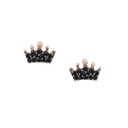 Ροζ Χρυσά Σκουλαρίκια Κορώνα 9Κ Με Μαύρες Πέτρες Ζιργκόν