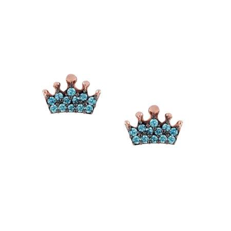 Ροζ Χρυσά Σκουλαρίκια Κορώνες 9Κ Γαλάζιες Πέτρες Ζιργκόν Καρφωτά