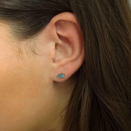 Ροζ Χρυσά Σκουλαρίκια Κορώνες 9Κ Γαλάζιες Πέτρες Ζιργκόν Καρφωτά Γυναικεία