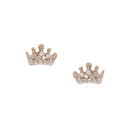 Ροζ Χρυσά Σκουλαρίκια Κορώνες 9Κ Καρφωτά Με Λευκές Ζιργκόν Πέτρες
