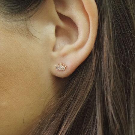 Ροζ Χρυσά Σκουλαρίκια Κορώνες 9Κ Λευκές Πέτρες Ζιργκόν