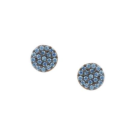 Ροζ Χρυσά Σκουλαρίκια Ροζέτα 9Κ Με Γαλάζιες Πέτρες Ζιργκόν