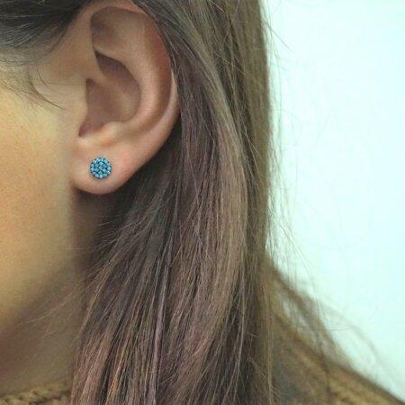 Ροζ Χρυσά Σκουλαρίκια Ροζέτα 9Κ Με Γαλάζιες Ζιργκόν Πέτρες