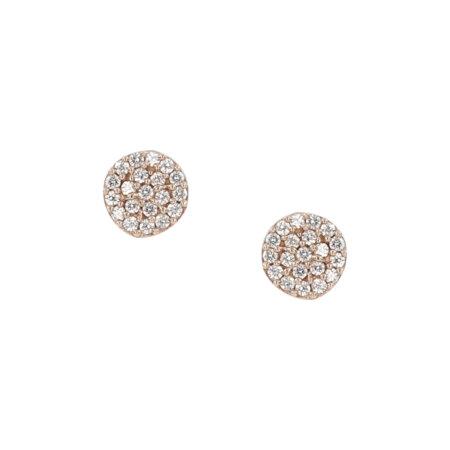 Ροζ Χρυσά Σκουλαρίκια Ροζέτα 9Κ Με Λευκές Ζιργκόν Πέτρες