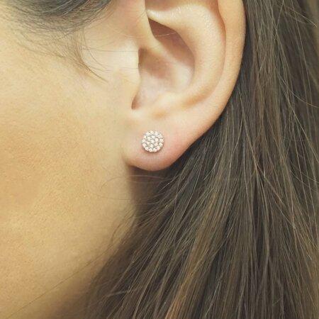 Ροζ Χρυσά Σκουλαρίκια Ροζέτα 9Κ Λευκές Ζιργκόν Πέτρες