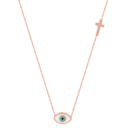 Ροζ Χρυσό Κρεμαστό Μάτι 9 Καράτια Με Σταυρουδάκι (κωδ: GK129)