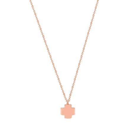 Ροζ Χρυσό Σταυρουδάκι Με Αλυσίδα 9 Καρατίων (κωδ: GC581)