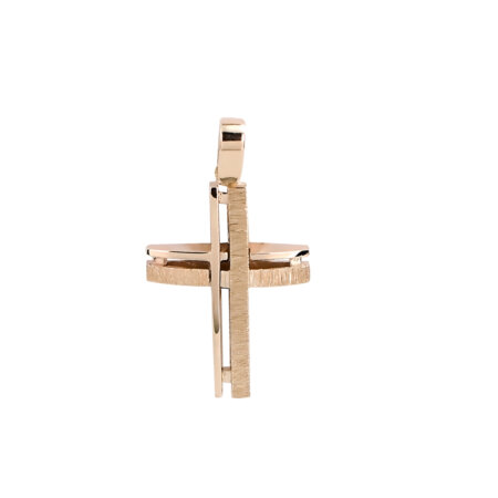 Ροζ Χρυσός Σταυρός 14Κ Με Μοντέρνο Σχεδιασμό (κωδ: GC615)