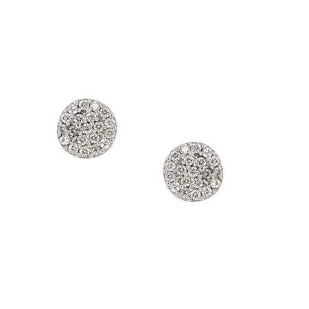 Ροζέτα Σκουλαρίκια Λευκόχρυσα 9Κ Με Λευκές Ζιργκόν Πέτρες