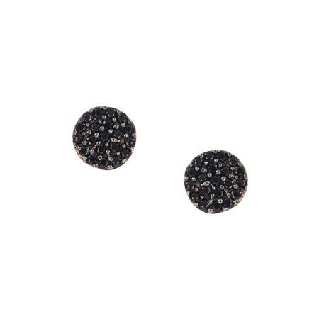 Ροζέτα Σκουλαρίκια Με Μαύρες Πέτρες Ζιργκόν Σε Ροζ Χρυσό 9Κ Καρφωτά