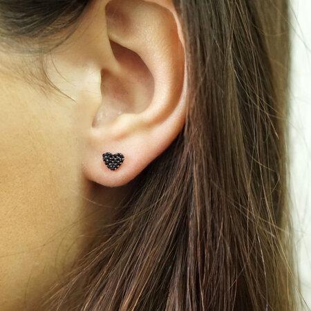 Σκουλαρίκια Καρδιά Με Μαύρες Πέτρες Ζιργκόν Σε Ροζ Χρυσό 9Κ