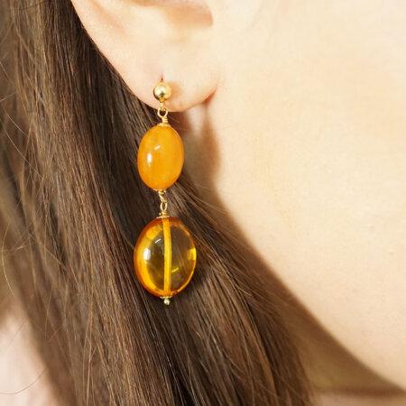 Σκουλαρίκια Με Κεχριμπάρι Χρυσά Κρεμαστά 18 Καρατίων Γυναικεία