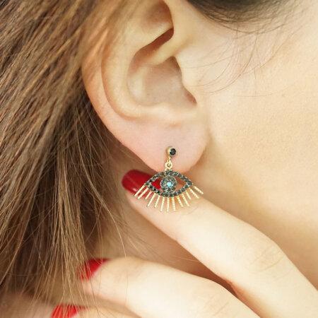 Σκουλαρίκια Με Ματάκι Χρυσά Κρεμαστά 9 Καράτια Γυναικεία