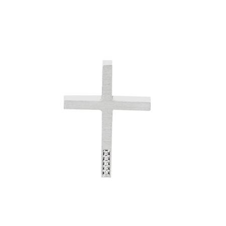 Σταυρός Γυναικείος Λευκόχρυσος 14 Καρατίων Με Ζιργκόν Πέτρες (κωδ: GC617)
