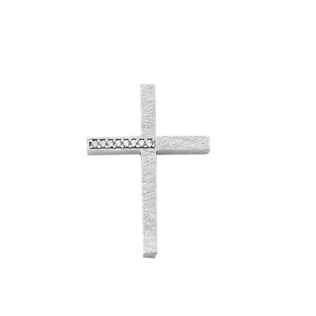 Σταυρός Γυναικείος Σε Λευκό Χρυσό 14Κ Με Ζιργκόν Πέτρες (κωδ: GC619)