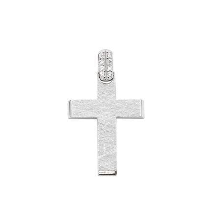 Σταυρός Λευκόχρυσος 14 Καρατίων Με Ζιργκόν (κωδ: GC620)