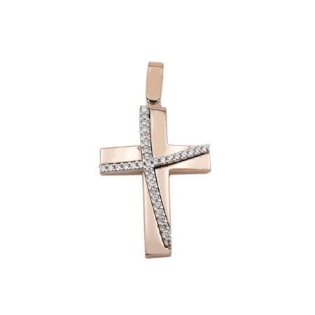 Σταυρός Με Πέτρες Σε Ροζ Χρυσό 14 Καρατίων (κωδ: GC646)