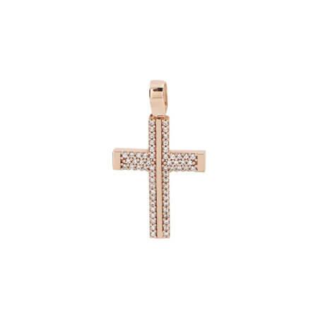 Σταυρός Ροζ Χρυσός Πετράτος Δύο Όψεων 14 Καρατίων (κωδ: GC647)
