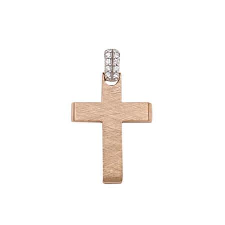 Σταυρός Ροζ Χρυσός Με Ζιργκόν Στο Κρικάκι 14 Καρατίων (κωδ: GC642)