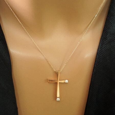 Σταυρός Σε Ροζ Χρυσό 9 Καρατίων