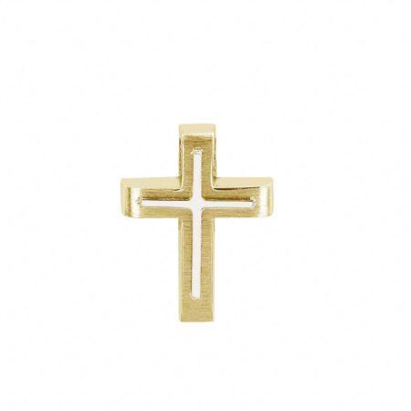 Βαπτιστικός Σταυρός Δίχρωμος Από Χρυσό 14 Καρατίων (κωδ: GC607)
