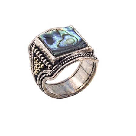 Χειροποίητο Ανδρικό Δαχτυλίδι Ασήμι 950 Χρυσό 18Κ Madre Perla