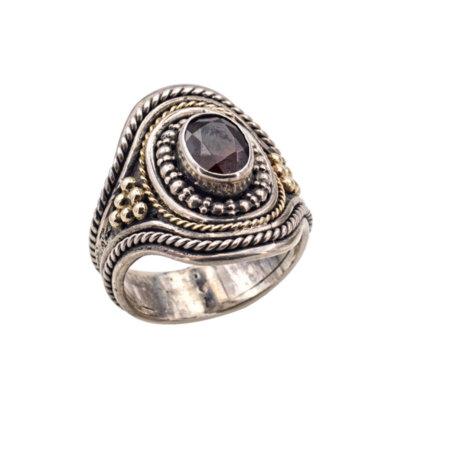 Χειροποίητο Ασημένιο Δαχτυλίδι 950 Χρυσό 18Κ Πέτρα Ρουμπινίτη