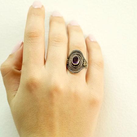 Χειροποίητο Δαχτυλίδι Αμέθυστος 18Κ Ασήμι 950