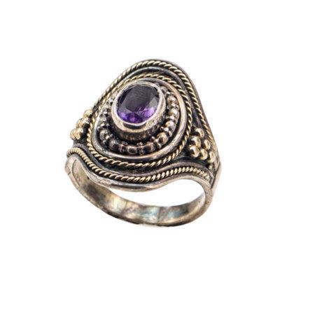 Χειροποίητο Δαχτυλίδι Με Αμέθυστο Από Ασήμι 950 Χρυσό 18Κ Γυναικείο