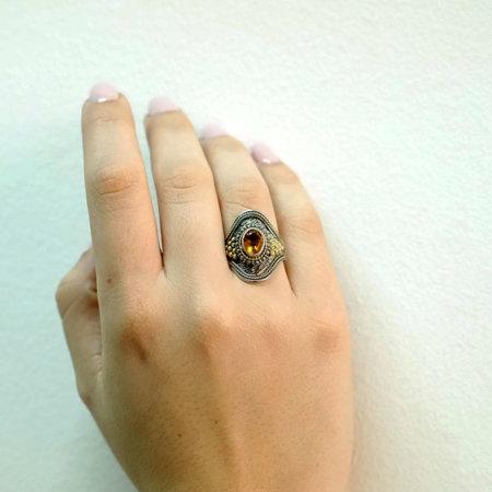 Χειροποίητο Δαχτυλίδι Με Citrine Πέτρα Ασημόχρυσο 18K - 950