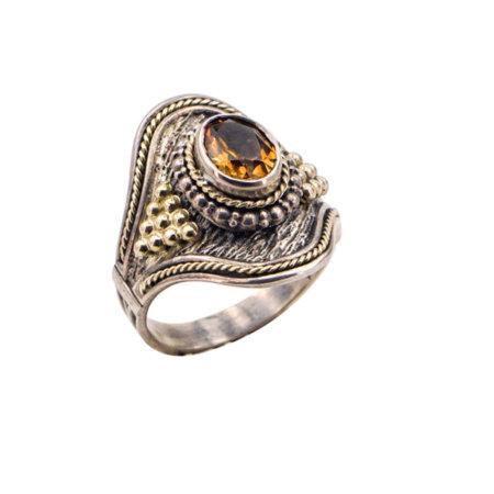 Χειροποίητο Δαχτυλίδι Με Citrine Πέτρες Ασημόχρυσο 950-18Κ Γυναικείο