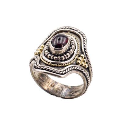 Χειροποίητο Δαχτυλίδι Με Κόκκινη Πέτρα Ρουμπινίτη Ασημόχρυσο 950-18Κ
