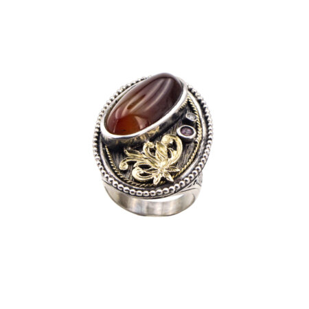 Χειροποίητο Δαχτυλίδι Με Κορνεόλη Αμέθυστο Μπριγιάν Ασημόχρυσο 950-18Κ