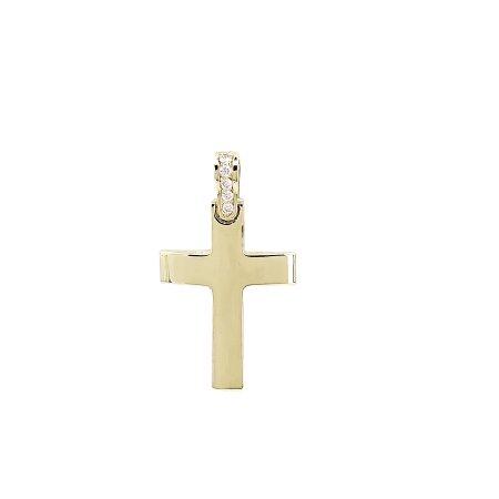 Χρυσός Σταυρός 18Κ Με Διαμάντια Μπριγιάν