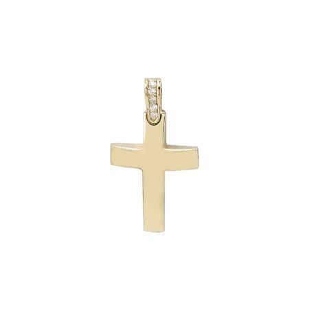 Χρυσός Σταυρός Γυναικείος Με Μπριγιάν 18Κ