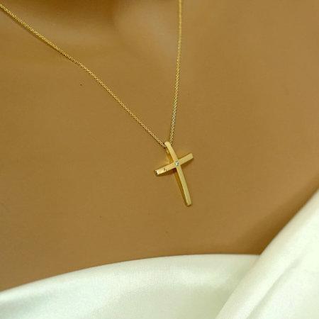 Χρυσός Σταυρός 18Κ Με Αλυσίδα Διαμάντι Μπριγιάν