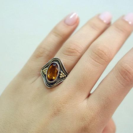 Δαχτυλίδι Χειροποίητο Ασημόχρυσο 18Κ - 950 Με Πέτρα Citrine