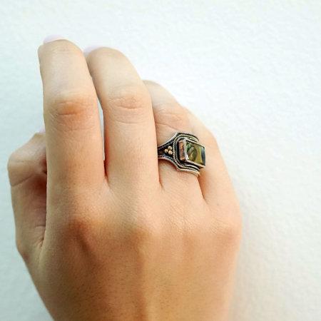 Δαχτυλίδι Χειροποίητο 950 18Κ Με Madre Perla