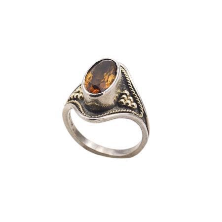Δαχτυλίδι Χειροποίητο Ασημόχρυσο 18Κ - 950 Πέτρα Citrine Γυναικείο
