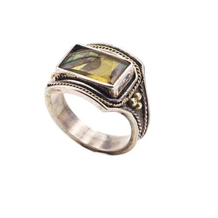 Δαχτυλίδι Χειροποίητο Ασημόχρυσο 950-18Κ Με Madre Perla Unisex