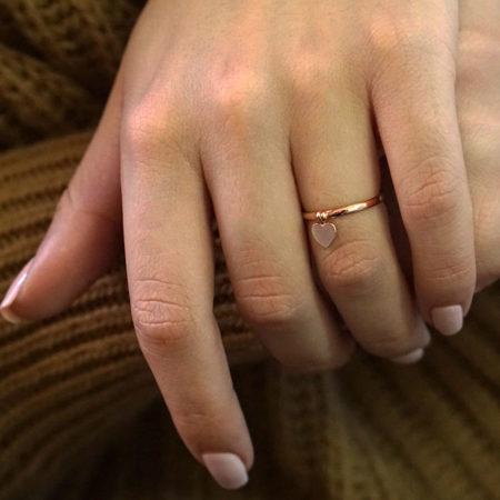 Δαχτυλίδι Καρδιά Ροζ Χρυσό 14 Καράτια