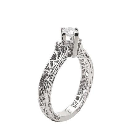 Δαχτυλίδι Μονόπετρο Με Διαμάντι Brilliant Σε Λευκόχρυσο 18Κ Γάμου Αρραβώνων