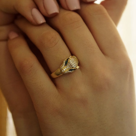 Δαχτυλίδι Πάνθηρας Με Λευκές Και Πράσινες Ζιργκόν Πέτρες Σε Χρυσό 14Κ