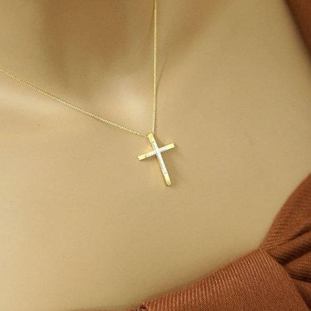 Γυναικείος Χρυσός Σταυρός Με Μπριγιάν Διαμάντια 18 Καράτια