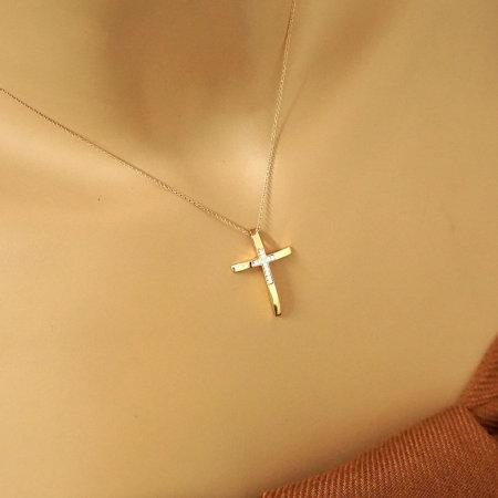 Γυναικείος Λοσυτρέ Ροζ Χρυσός Σταυρός Με Μπριγιάν Διαμάντια 18Κ