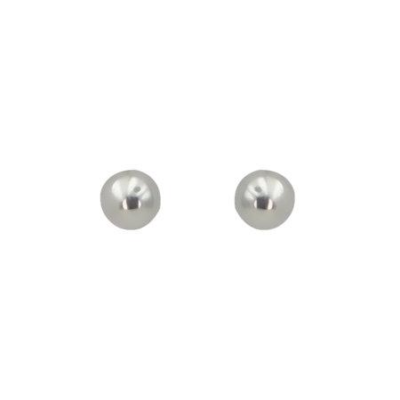 Καρφωτά Λευκόχρυσα Σκουλαρίκια Μπίλια 14 Καρατίων