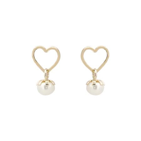 Καρφωτά Σκουλαρίκια Καρδιά Με Μαργαριτάρι Σε Χρυσό 14Κ
